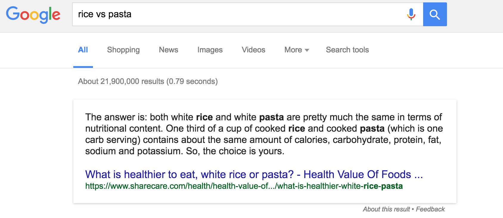 Image showing search comparison of rice and pasta